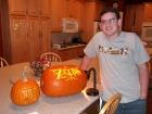 """Clark, his pumpkin \""""pi\"""" and his Zelda pumpkin."""