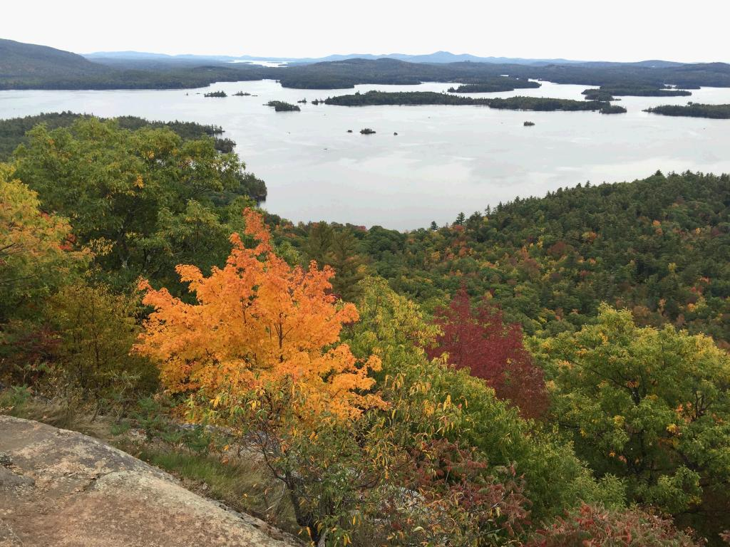 The reward at the top of the hike - Lake Squam. A bit overcast, so not as blue as it could have been - use your imagination.
