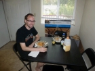 Waffle breakfast on his new \'kitchen table!\'
