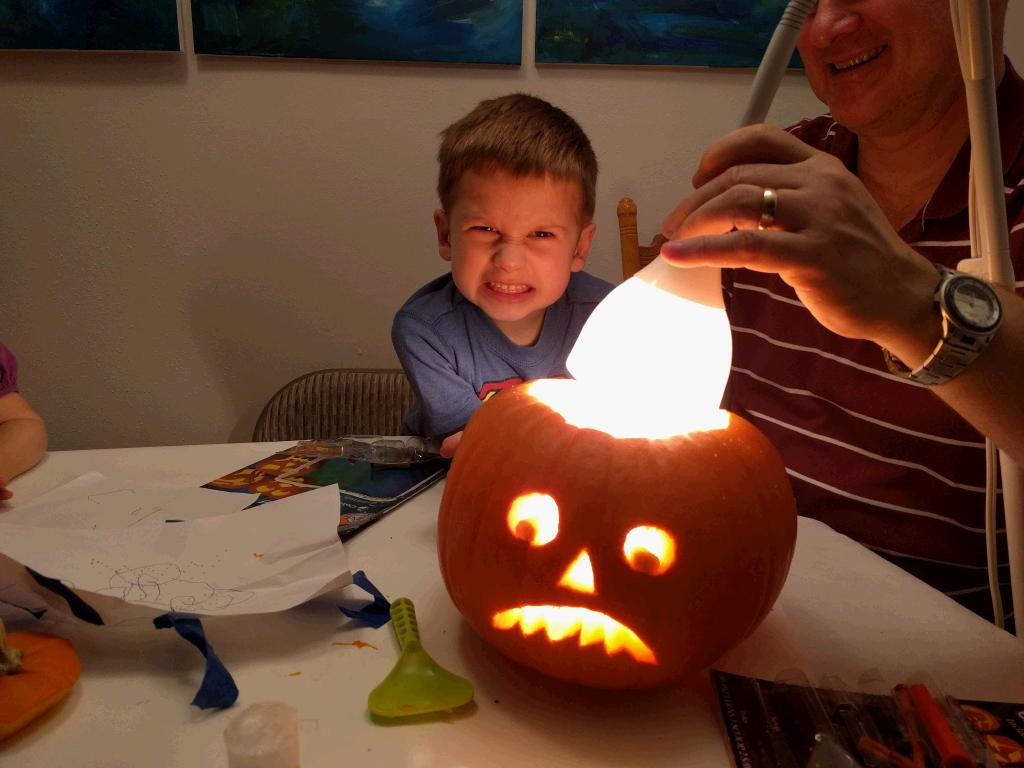 Kenyon wanted a scary faced pumpkin -- pretty much the one he makes so well.