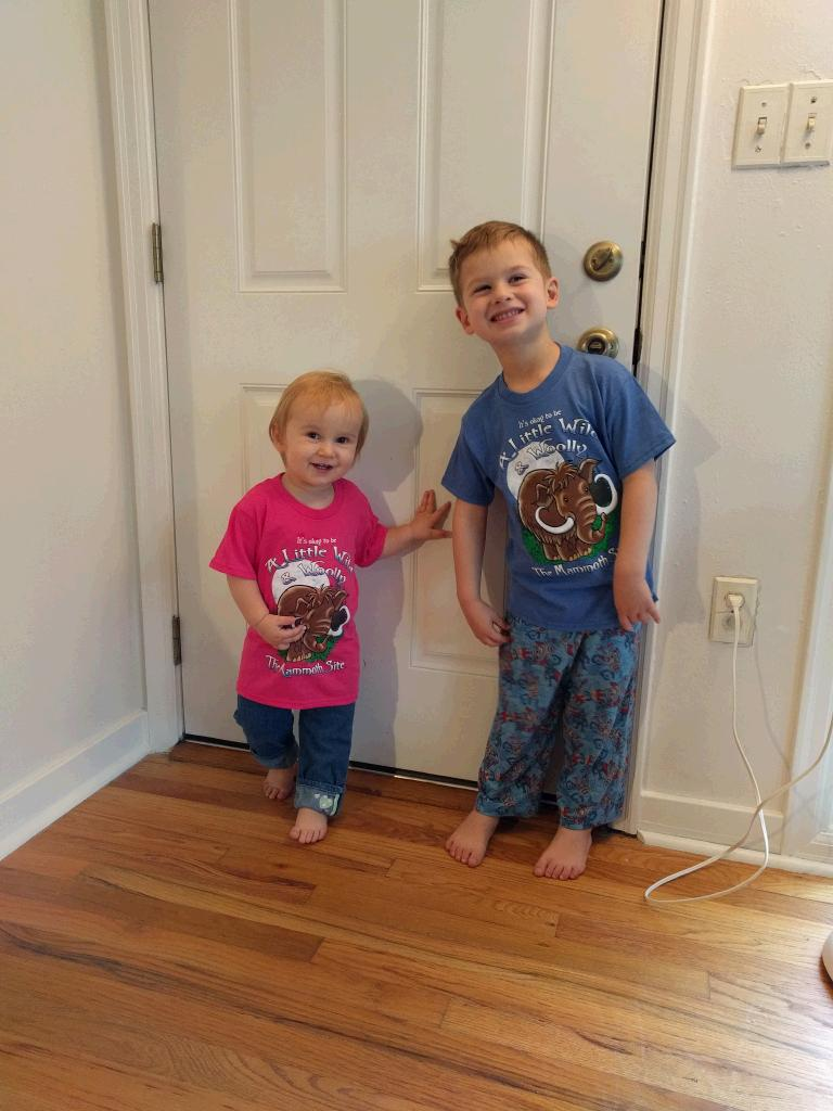 The kids are modeling the shirts we brought them from South Dakota where we saw an actual Mammoth site.