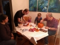 Family pumpkin carving.