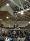 We got to watch the Castellers practice inside with nets...